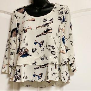 Maeve Silk Ivory Black Violin Umbrella Shirt 2